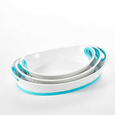 """3-Piece 12""""&13.5""""&15.5"""" Bakeware Pans Porcelain Baking Plates with Blue Silicone"""