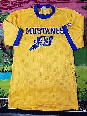 Vintage T Shirt CHAMPION Mustangs Track and Field 1970s Nylon