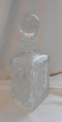 VINTAGE Retro TRADITIONAL CUT GLASS CRYSTAL Drinks DECANTER w/ STOPPER 28cm