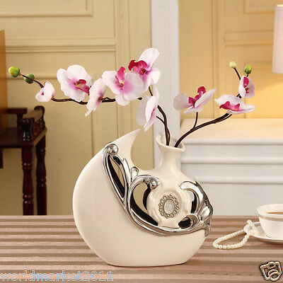 Modern Simplicity Silver+White Ceramic Home Accessories Decoration Vase