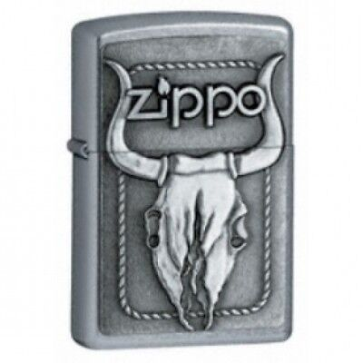 Zippo Bull Skull Emblem Street Chrome Windproof Lighter Brand New