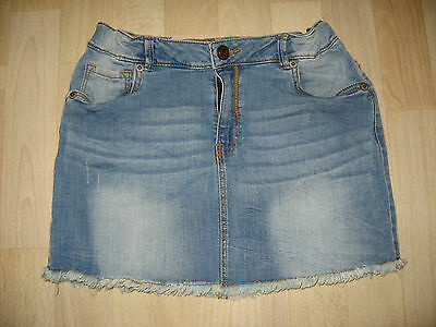 MANGO Kids Jeans Mini Rock Gr.164 washed out mit Fransensaum