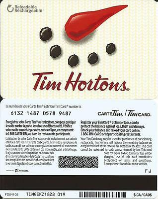 New Tim Hortons Christmas Mint Gift Card 2016 Bilingual From Canada No Value