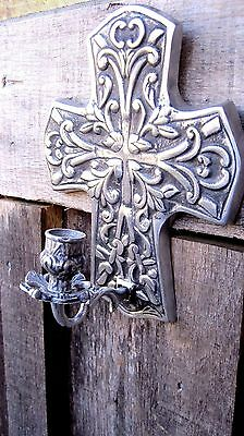 Vintage Pewter/stainless Cross Candle Holder Home & Garden Wall Sconce Light