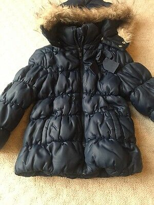H&m Navy Winter Jacket Girl 2-3 Years