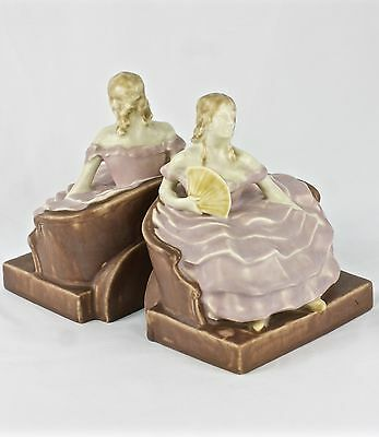 """ROOKWOOD 6 1/2"""" COLONIAL WOMAN with FAN #6252 BOOKENDS SET c1934"""