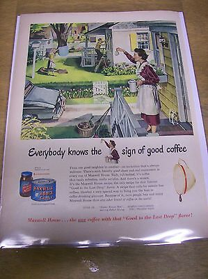 Original 1950 Maxwell House Coffee Magazine Ad - Everybody Know The Sign...