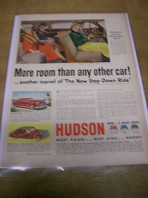 Original 1950 Hudson Magazine Ad - More Room Than Any Other Car