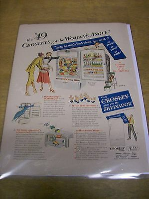 Original 1949 Crosley Refrigerators Magazine Ad - Woman's Angle