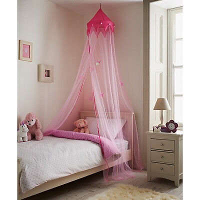 Large 230 cm Princess Pink Bed Canopy Pretty Netting & Crowns Childrens Bedroom