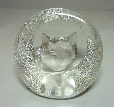 Mats Jonasson Lead Crystal Glass Cat Paperweight - Sweden - Scandinavian