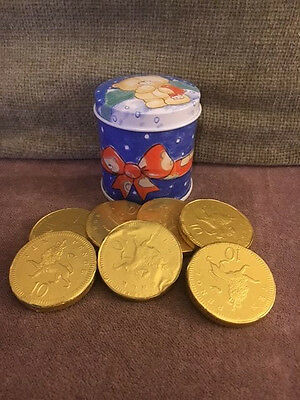 Lovely Teddy Christmas Tin With Fun Chocolate Coins (Stocking Filler)
