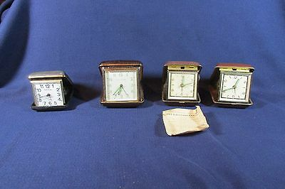 4 Vintage Travel Alarm Clocks Nice,  Florn (2),  Seth Thomas,  Phinney Walker
