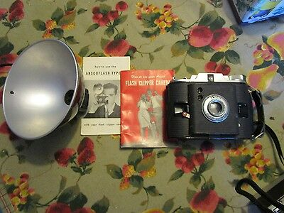 Vintage Ansco Flash Clipper Camera and Flash and Booklet -   CZALOT