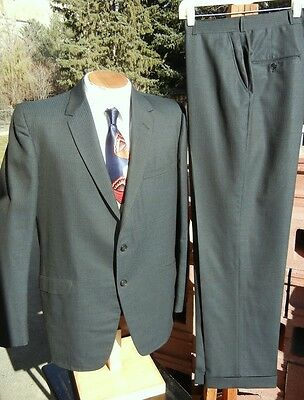 Vintage 1960s 2 Button Sharkskin Suit 44L 37x31 - Wool w/ Teal & Black Lines
