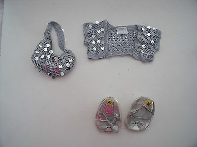 Build A Bear Silver Sequin Cardigan, Bag & Shoes For Outfits - Bundle - Lots