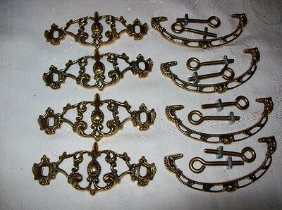 4 Brass Drawer Plates with Pulls & Screws