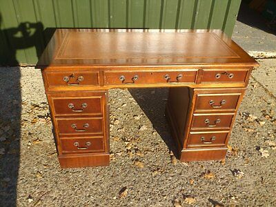 Antique Mahogany Veneer Pedestal Writing Desk With Brown Leather Top