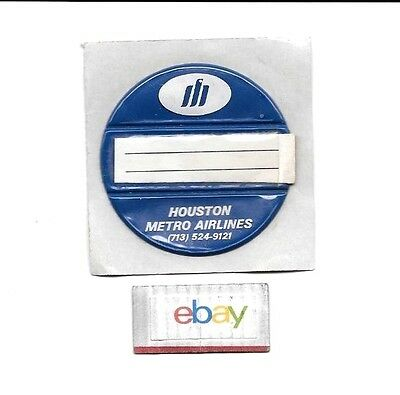 """Houston Metro Airlines 1970's Luggage Tag The """"spotter"""" Id Card Unused"""