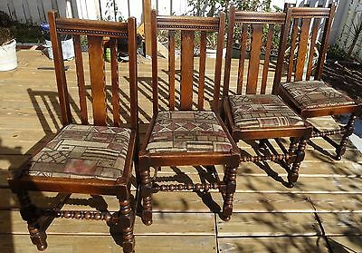 Set of 4 Antique English Solid Oak Jacobean Dining Chairs