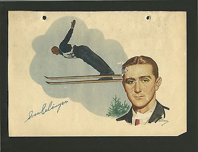 Sven Selanger Skiing Olympic Vintage 1950 Swedish Sports Print Photo Card