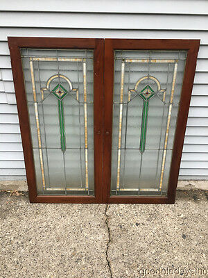 Antique 1920's Chicago Stained Leaded Glass Bookcase Cabinet Doors / Windows
