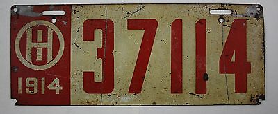 Vintage 1914 Original OHIO License Plate 37114