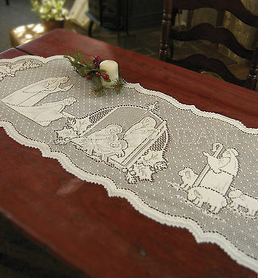 Silent Night Table Runner by Heritage Lace, 14x41, One or Set, Christmas Decor