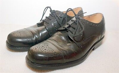 Mens Clarks Black Leather Brogue Style Shoes - Size 7 Uk / 41 Good Condition