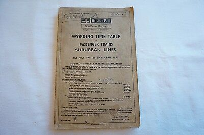 1971 BR Working Timetable Southern Region South Western Division Section K