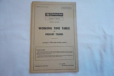 BR Working Timetable Southern Region 1970 Central Division Section C Freight