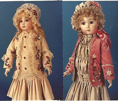 """23-24""""antique French Jumeau Doll Victorian Ribbon Embroidery Dress&hat Pattern"""