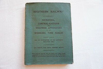 Southern Railway Working Timetable Appendix 1934 Central Eastern Western