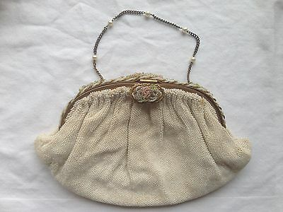 Exquisite French Vintage Antique Handmade Glass Beaded Purse Bag Clutch