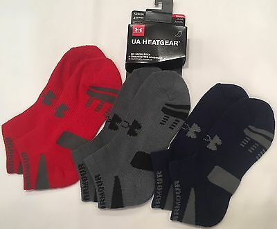 NWT youth Boys' YLG large UNDER ARMOUR 3-pair NO SHOW socks UA heatgear GRAY RED
