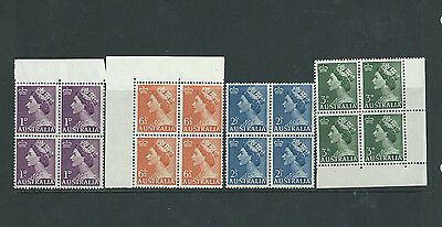 Australia 1953-56 Qeii Part Set  In  Blocks Of 4 Mnh