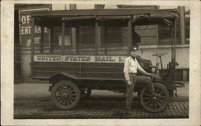 US United States Mail Truck & Postal Carrier Man c1910 Real Photo Postcard dcn