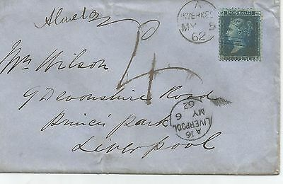 QUEEN VICTORIA 2d BLUE FROM INVERNESS 1862 TO LIVERPOOL REF 477