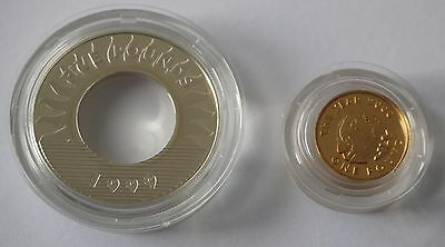 Guernsey Millennium Silver Proof 1999 £5 Collar +2000 Gold Plated £1 Nugget Coin
