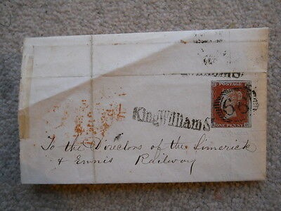 QV One Penny Red/Brown on Blue Paper(SG8A)  Entire Letter (Limerick & Ennis Rly)