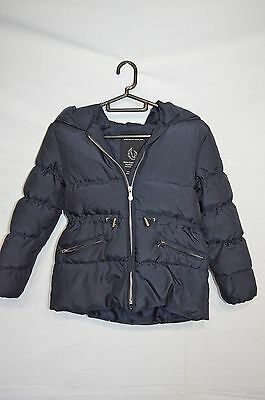 Girls Zara Navy Blue Down Padded Hooded Jacket age 6-7