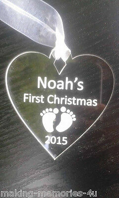 Personalised Heart  Christmas  Decoration Babys First Christmas