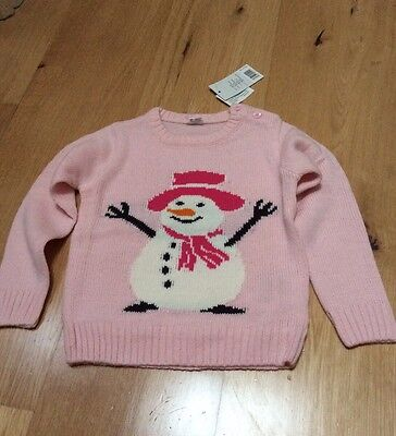 BNWT Baby Girls Xmas Christmas Jumper Size 12-24 Months Snowman Pink Age 1-2