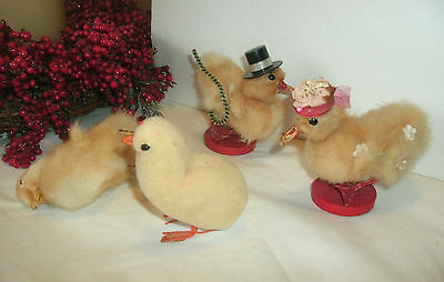 3 Antique/vintage Real Taxidermy Easter Chicks, 1 Spun Cotton Chick, Japan