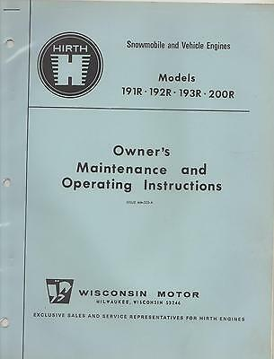 Hirth Snowmobile/vehicle Engine 191R,192R,193R,200R Owner,operating Manual (641)
