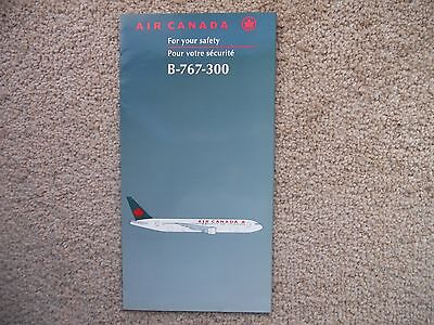 Air Canada Booeing 767 300 Airline Safety Card