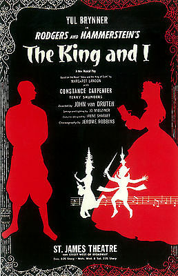 """THE KING AND I  - 11""""X17"""" Reproduction BROADWAY POSTER"""