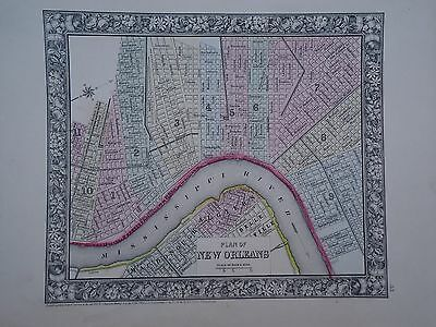Vintage 1860 New Orleans Map ~ Old Antique Atlas Map  *free S&h  1864/111516
