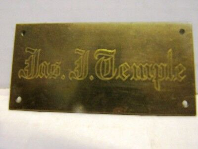 """Antique Brass Plate For Trunk Or  Carriage Engraved """"jos. J. Temple"""""""