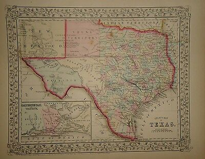 Vintage 1867 Texas Map ~ Old Antique Atlas Map *free S&h 67/111516
